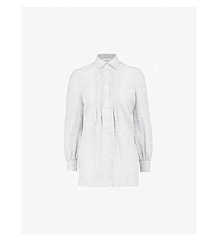 CO Striped linen and silk-blend shirt (Blue/white