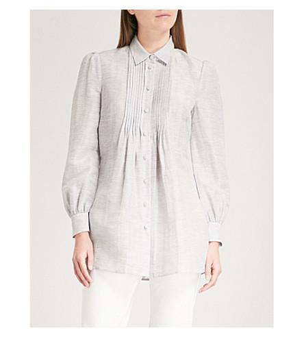 CO Striped linen and silk-blend shirt (Blue/white