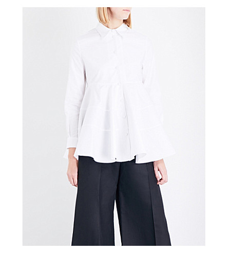 CO Flared-hem cotton-poplin shirt (White