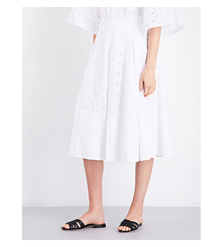 CO Broderie anglaise bell cotton skirt (White