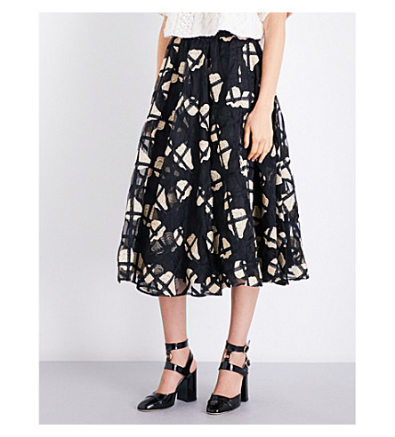 CO Floral-embroidered organza midi skirt (Black