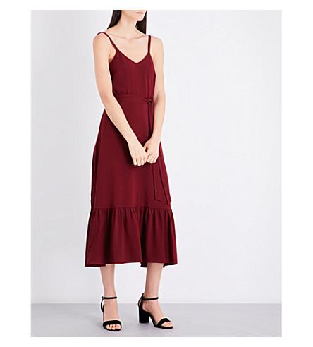 CO V-neck crepe dress (Burgundy