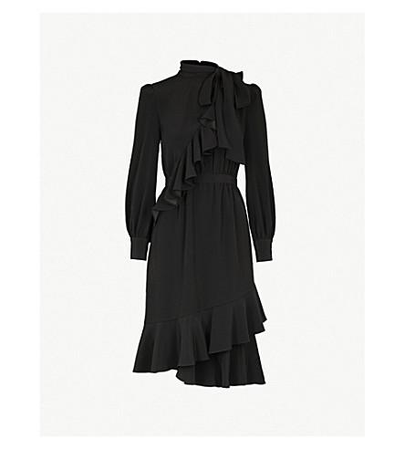 CO Frilled-detail crepe dress (Black
