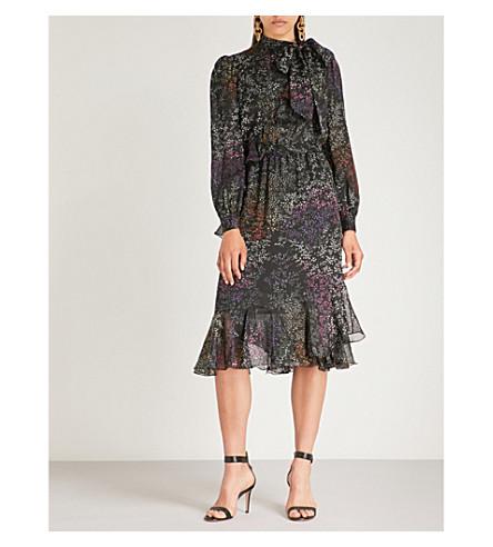 CO Floral-print silk-chiffon midi dress (Black