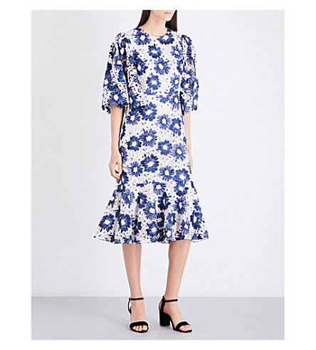 CO Floral guipure-lace midi dress (Blue