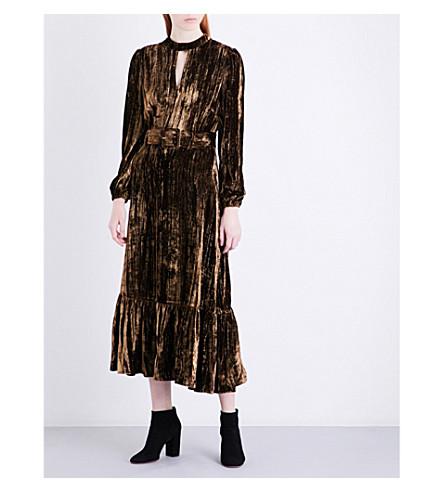 CO Metallic crinkled-velvet midi dress (Brown