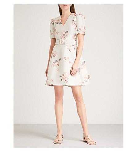 CO Belted floral-jacquard mini dress (Beige/pink