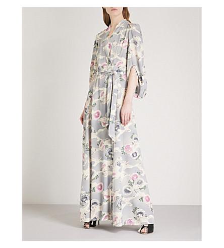 CO Floral-print kimono-sleeve silk robe (Chrysanthemum+print