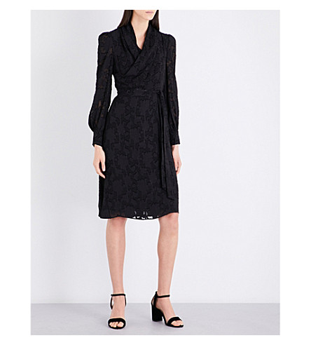 CO Fil-coupé wrap dress (Black