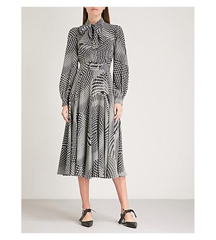 CO Neck-tie polka dot-print silk midi dress (Black/white