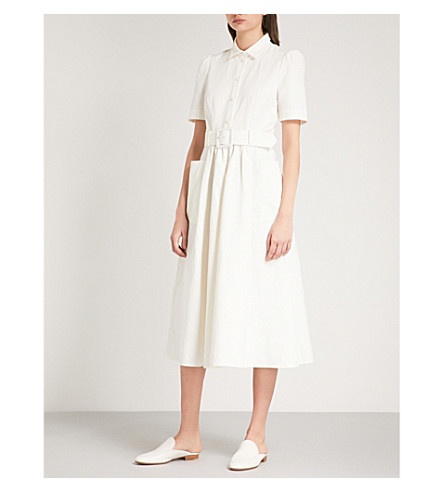 CO Belted linen and cotton-blend midi dress (Ivory