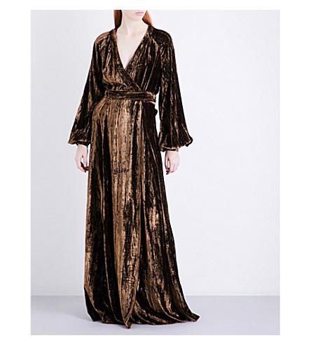 CO Metallic crinkled-velvet maxi dress (Brown