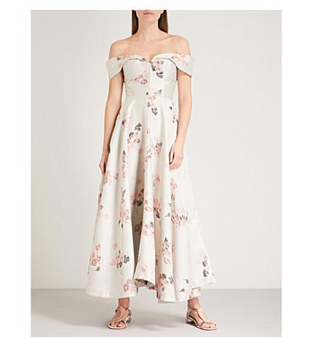 Off-the-shoulder Floral-jacquard Midi Dress - Beige Co GCeHXGPzH
