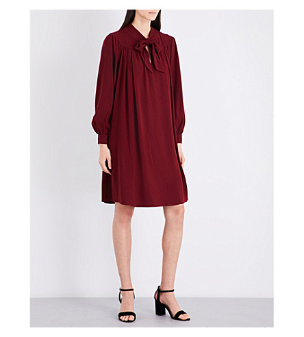 CO Tie neck crepe dress (Burgundy