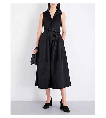 CO Sleeveless cotton-sateen midi dress (Black