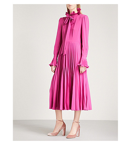 CO Neck-tie frilled crepe midi dress (Magenta