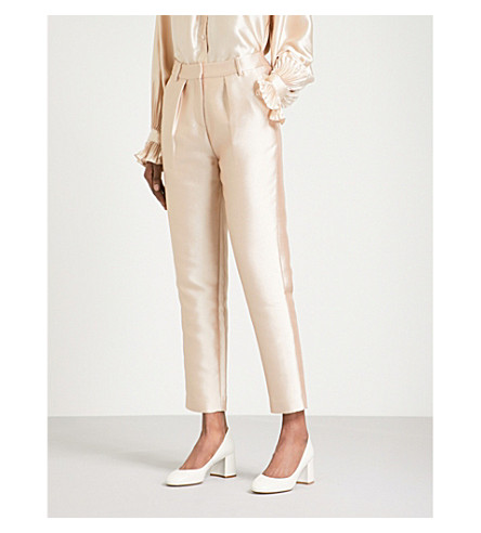 CO Tapered high-rise satin-twill trousers (Rose