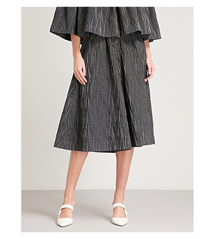 CO Striped wide-leg cropped cotton-blend trousers (Black/white+stripe