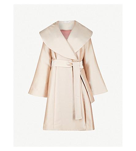 CO Shawl-lapel silk-twill wrap coat (Rose