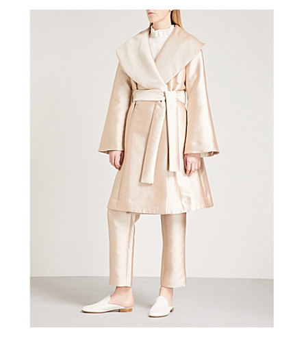 CO Shawl-lapel silk-twill wrap coat (Rose