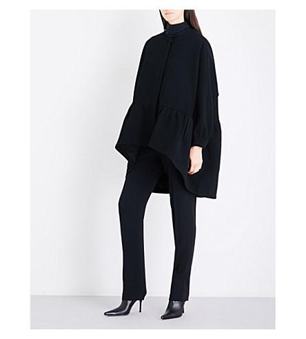CO Oversized ruffled-hem crepe coat (Black