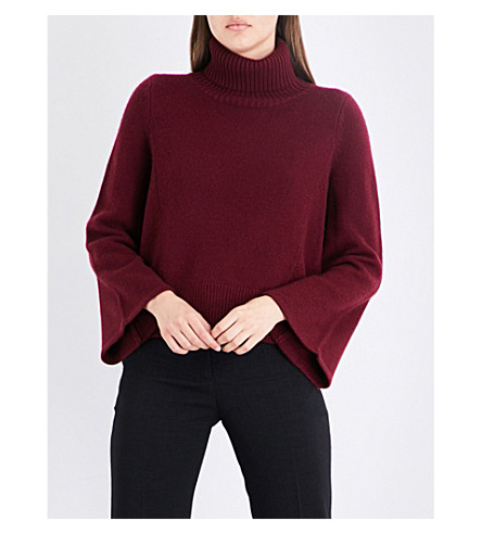 CO Cropped turtleneck wool and cashmere-blend jumper (Burgundy