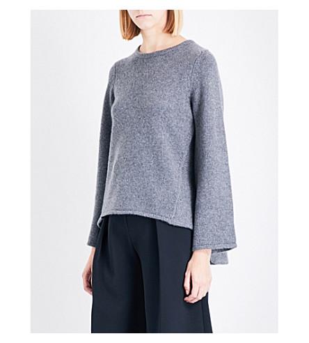 CO 折边针织毛衣 (灰色