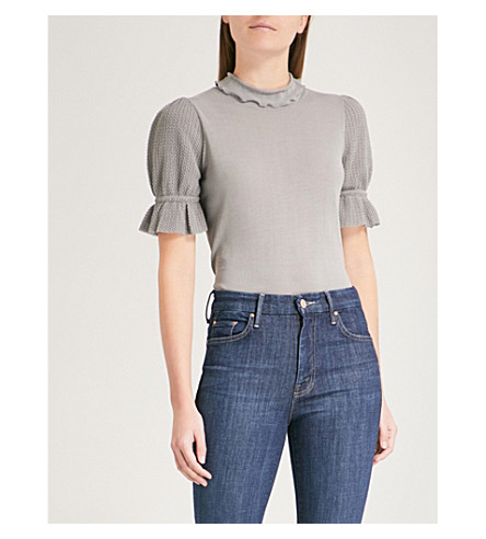 CO Frilled cotton-blend top (Grey