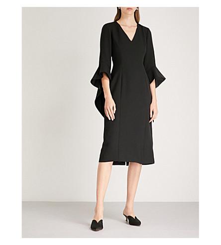 PRABAL GURUNG Ruffled-sleeve crepe midi dress (Black