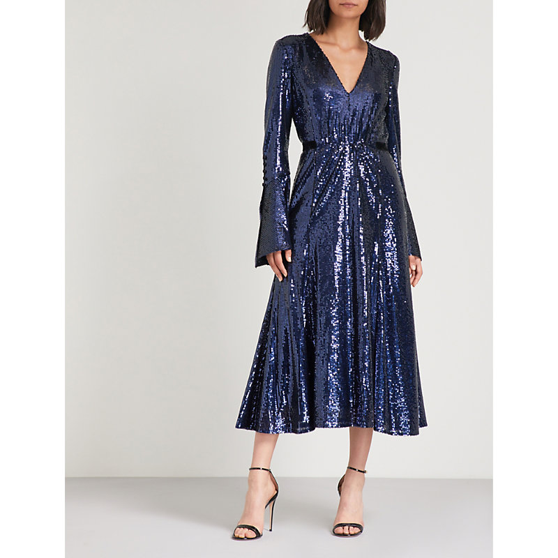 BELTED SEQUINNED MIDI DRESS