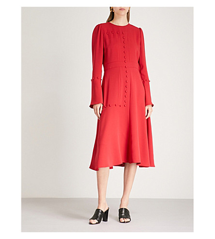 PRABAL GURUNG Button-detail crepe midi dress (Cardinal