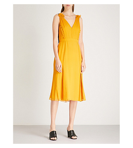 PRABAL GURUNG Side-split silk-chiffon dress (Ochre