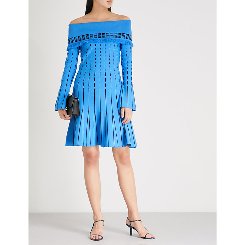 PRABAL GURUNG OFF-THE-SHOULDER EMBROIDERED KNITTED DRESS