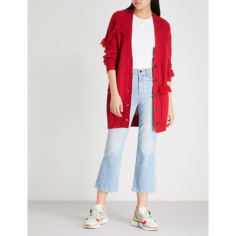FRINGED-TRIM RIBBED CASHMERE CARDIGAN