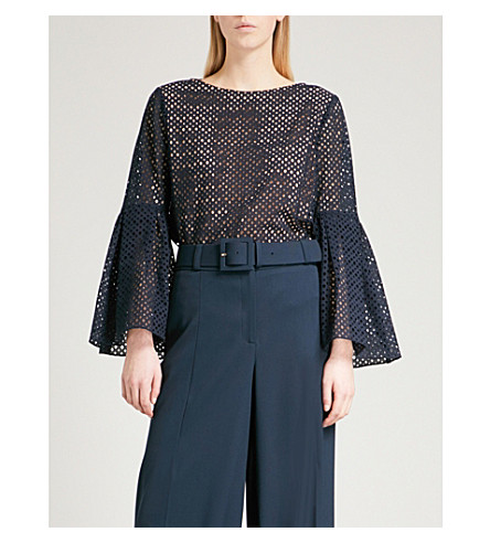 PRABAL GURUNG Eyelet-embroidered flared-sleeve cotton top (Navy