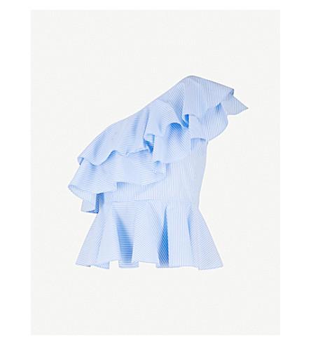 PRABAL GURUNG One-shoulder ruffled cotton top (Sky/white
