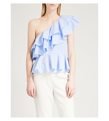 PRABAL GURUNG One-shoulder ruffled cotton top (Sky/white