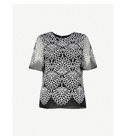 PRABAL GURUNG Silk-embroidered woven top (Black/white