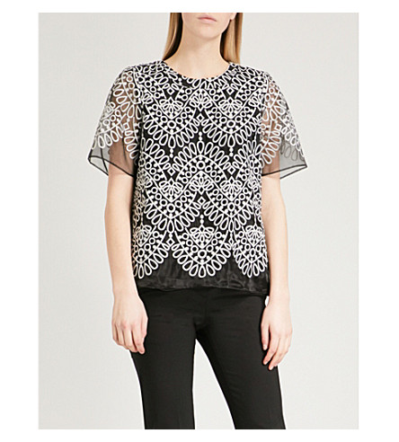 PRABAL GURUNG Silk-embroidered woven top (Black/white