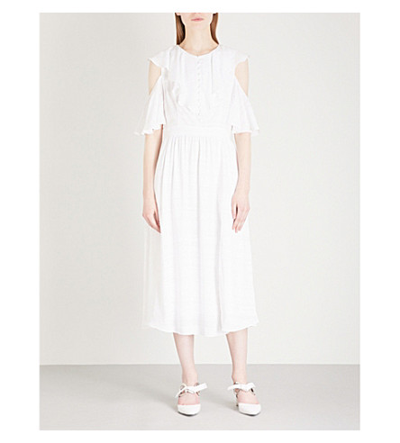PRABAL GURUNG Cold-shoulder fit-and-flare woven midi dress (White