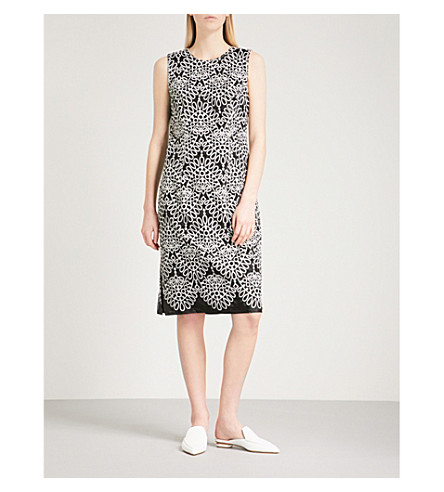 PRABAL GURUNG Silk-embroidered sleeveless woven dress (Black/white