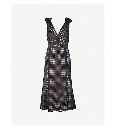 PRABAL GURUNG Eyelet-embroidered sleeveless cotton dress (Navy