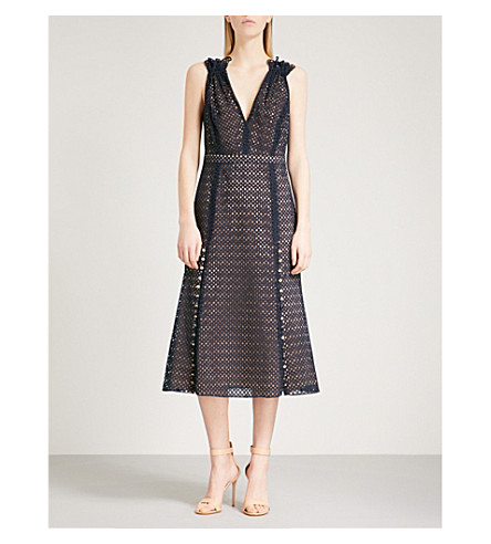 PRABAL GURUNG Eyelet-embroidered sleeveless cotton dress (Navy