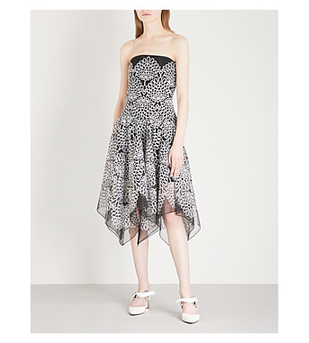 PRABAL GURUNG Geometric-embroidered strapless woven dress (Black/white