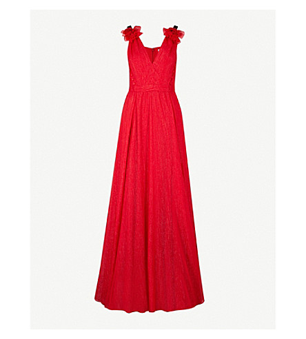 PRABAL GURUNG Flower-detail sleeveless metallic woven gown (Crimson
