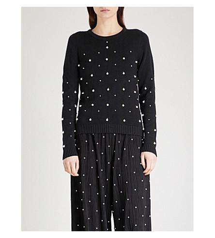 PRABAL GURUNG Faux-pearl embellished silk-blend jumper (Black/white