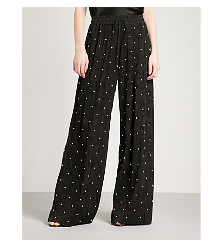 PRABAL GURUNG Faux-pearl embellished wide-leg pleated trousers (Black/white