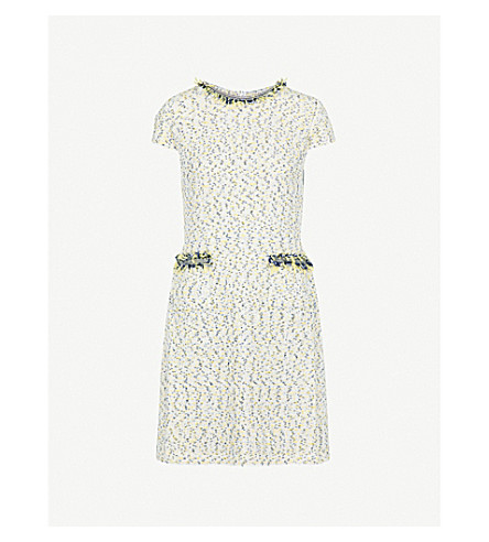 ST JOHN Frayed-trims tweed mini dress (Citron multi