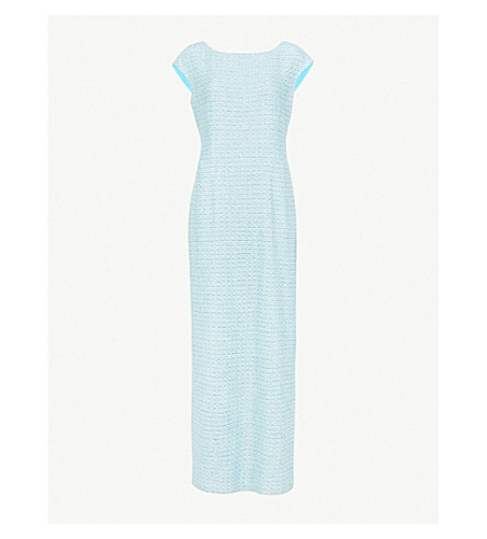 ST JOHN Sequin-embellished knitted jersey gown (Aqua multi