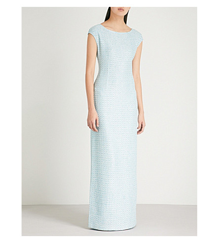 ST JOHN Sequin-embellished knitted jersey gown (Aqua+multi